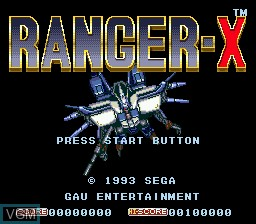 Title screen of the game Ranger-X on Sega Megadrive