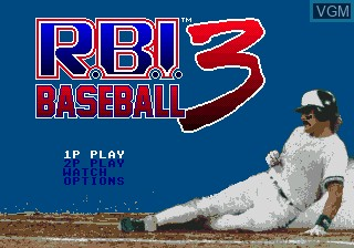 Title screen of the game RBI Baseball 3 on Sega Megadrive