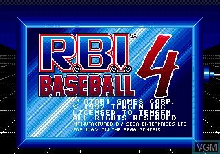 Title screen of the game RBI Baseball 4 on Sega Megadrive