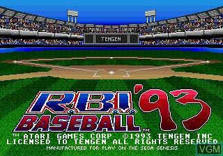 Title screen of the game RBI Baseball 93 on Sega Megadrive