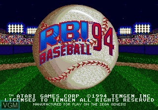 Title screen of the game RBI Baseball 94 on Sega Megadrive