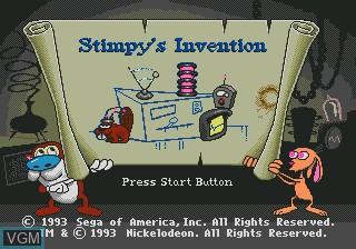 Title screen of the game Ren and Stimpy Show, The - Stimpy's Invention on Sega Megadrive
