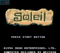 Title screen of the game Soleil on Sega Megadrive