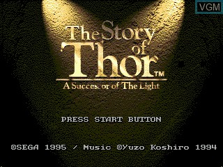 Title screen of the game Story of Thor, The - A Successor of The Light on Sega Megadrive