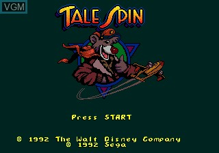 Title screen of the game Tale Spin on Sega Megadrive
