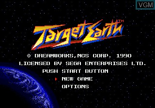 Title screen of the game Target Earth on Sega Megadrive