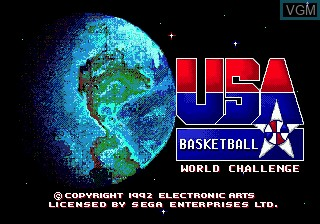 Title screen of the game Team USA Basketball on Sega Megadrive