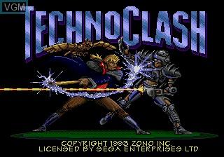 Title screen of the game Techno Clash on Sega Megadrive