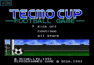 Title screen of the game Tecmo Cup on Sega Megadrive