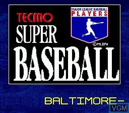 Title screen of the game Tecmo Super Baseball on Sega Megadrive