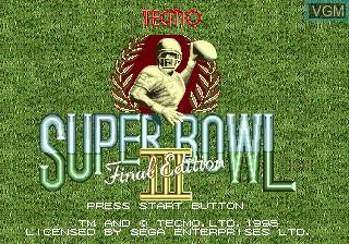 Title screen of the game Tecmo Super Bowl III Final Edition on Sega Megadrive