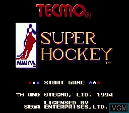 Title screen of the game Tecmo Super Hockey on Sega Megadrive