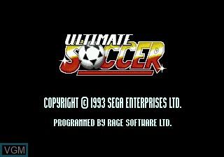 Title screen of the game Ultimate Soccer on Sega Megadrive