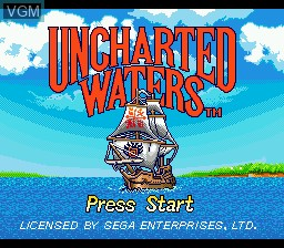 Title screen of the game Uncharted Waters on Sega Megadrive