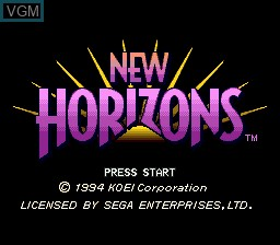 Title screen of the game Uncharted Waters - New Horizons on Sega Megadrive