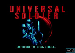 Title screen of the game Universal Soldier on Sega Megadrive