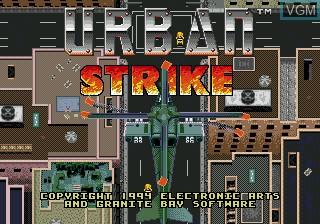 Title screen of the game Urban Strike on Sega Megadrive