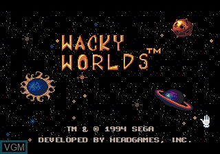 Title screen of the game Wacky Worlds on Sega Megadrive