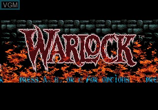 Title screen of the game Warlock on Sega Megadrive