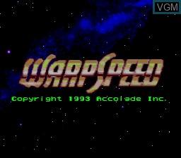 Title screen of the game Warpspeed on Sega Megadrive