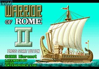 Title screen of the game Warrior of Rome II on Sega Megadrive