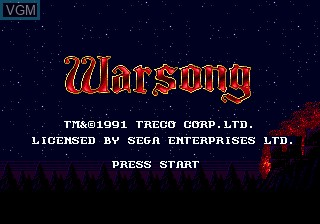 Title screen of the game Warsong on Sega Megadrive