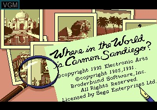 Title screen of the game Where in the World is Carmen Sandiego on Sega Megadrive