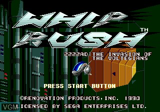 Title screen of the game Whip Rush 2222 AD on Sega Megadrive