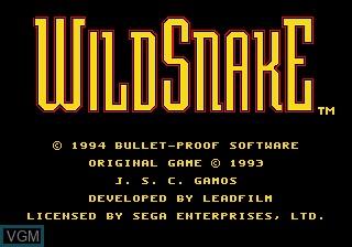 Title screen of the game Wild Snake on Sega Megadrive