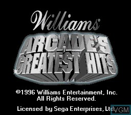 Title screen of the game Williams Arcade's Greatest Hits on Sega Megadrive
