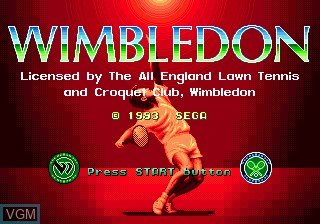 Title screen of the game Wimbledon Championship Tennis on Sega Megadrive