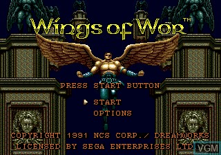 Title screen of the game Wings of Wor on Sega Megadrive