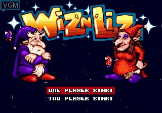 Title screen of the game Wiz 'n' Liz - The Frantic Wabbit Wescue on Sega Megadrive