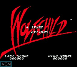 Title screen of the game Wolf Child on Sega Megadrive