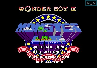 Title screen of the game Wonder Boy III - Monster Lair on Sega Megadrive