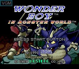 Title screen of the game Wonder Boy V - Monster World III on Sega Megadrive