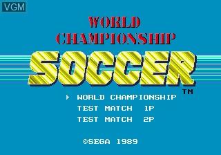 Title screen of the game World Championship Soccer on Sega Megadrive
