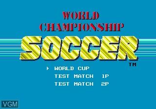Title screen of the game World Cup Italia 90 on Sega Megadrive