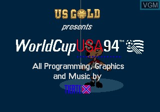 Title screen of the game World Cup USA 94 on Sega Megadrive