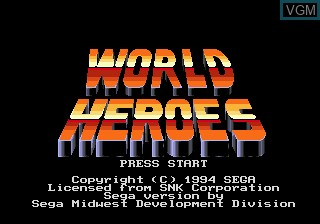 Title screen of the game World Heroes on Sega Megadrive