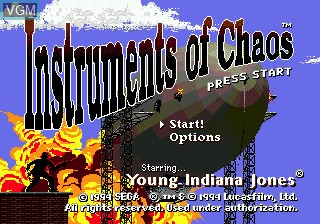 Title screen of the game Young Indiana Jones - Instrument of Chaos on Sega Megadrive