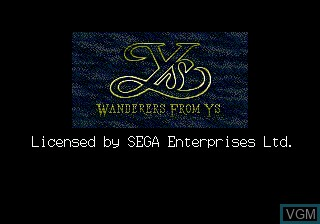 Title screen of the game Ys III - Wanderers from Ys on Sega Megadrive