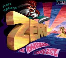 Title screen of the game Zero the Kamikaze Squirrel on Sega Megadrive