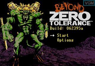 Title screen of the game Beyond Zero Tolerance on Sega Megadrive