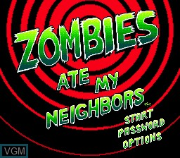 Title screen of the game Zombies Ate My Neighbors on Sega Megadrive
