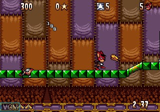 Menu screen of the game Aero the Acro-Bat on Sega Megadrive