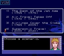 Menu screen of the game Aerobiz Supersonic on Sega Megadrive