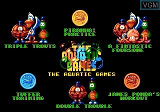 Menu screen of the game Aquatic Games - Starring James Pond, The on Sega Megadrive