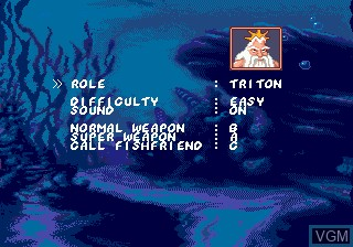 Menu screen of the game Ariel - The Little Mermaid on Sega Megadrive