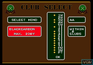 Menu screen of the game Arnold Palmer Tournament Golf on Sega Megadrive